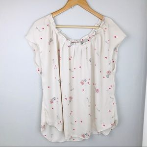 Lauren Conrad Pink Ruched neck silky Top